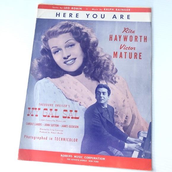 🌸1940s Vintage sheet music Rita Hayworth